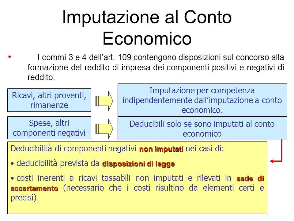 Imputazione al Conto Economico I commi 3 e 4 dellart. 109 contengono disposizioni sul concorso alla formazione del reddito di impresa dei componenti p