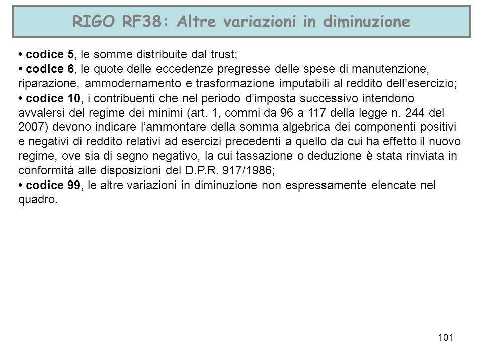 101 RIGO RF38: Altre variazioni in diminuzione codice 5, le somme distribuite dal trust; codice 6, le quote delle eccedenze pregresse delle spese di m