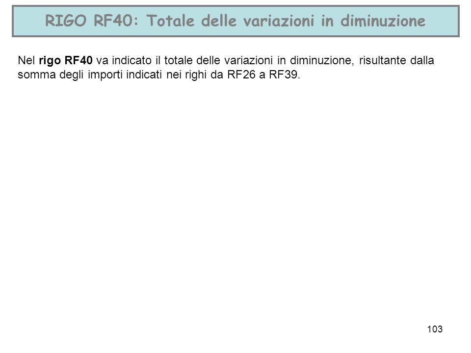 103 RIGO RF40: Totale delle variazioni in diminuzione Nel rigo RF40 va indicato il totale delle variazioni in diminuzione, risultante dalla somma degl