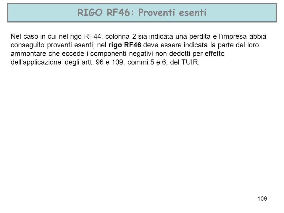 109 RIGO RF46: Proventi esenti Nel caso in cui nel rigo RF44, colonna 2 sia indicata una perdita e limpresa abbia conseguito proventi esenti, nel rigo