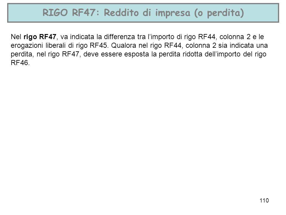 110 RIGO RF47: Reddito di impresa (o perdita) Nel rigo RF47, va indicata la differenza tra limporto di rigo RF44, colonna 2 e le erogazioni liberali d