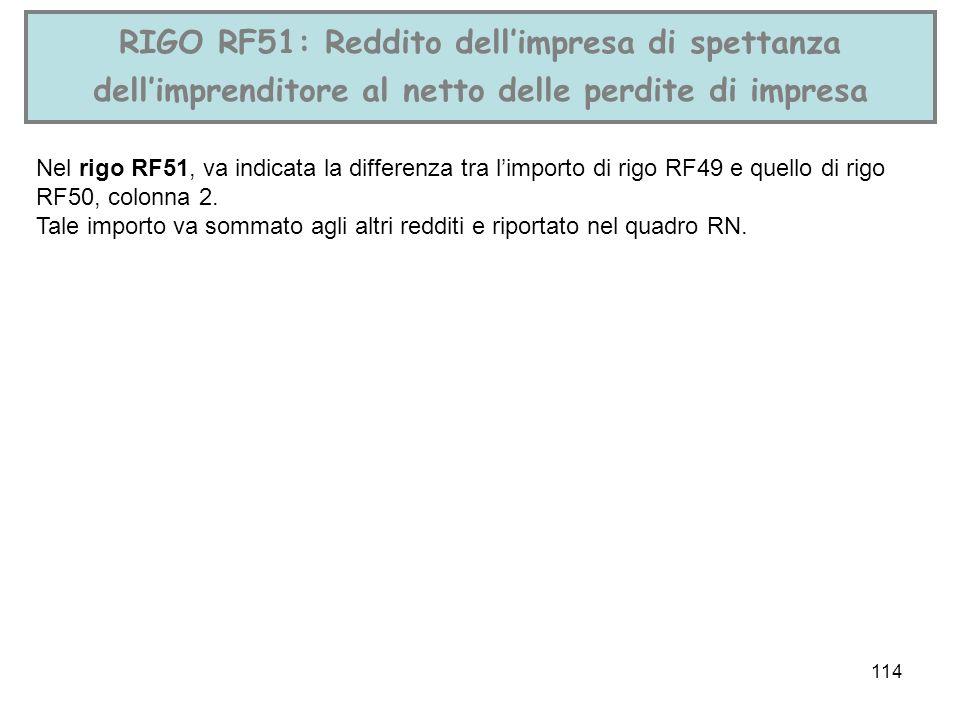 114 RIGO RF51: Reddito dellimpresa di spettanza dellimprenditore al netto delle perdite di impresa Nel rigo RF51, va indicata la differenza tra limpor
