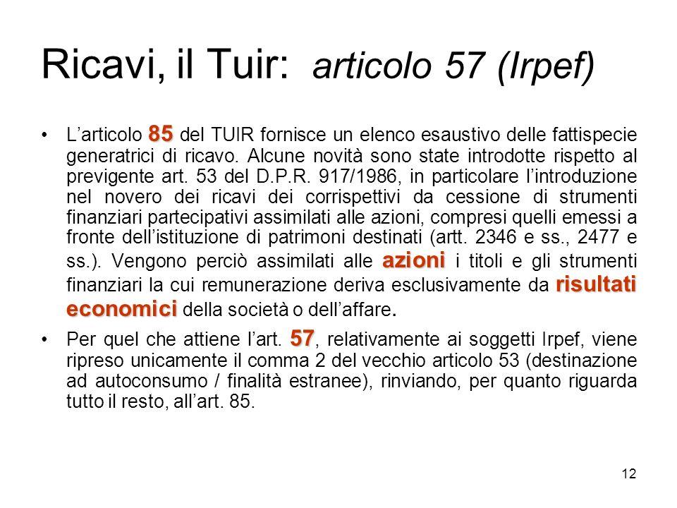 12 Ricavi, il Tuir: articolo 57 (Irpef) 85 azioni risultati economiciLarticolo 85 del TUIR fornisce un elenco esaustivo delle fattispecie generatrici