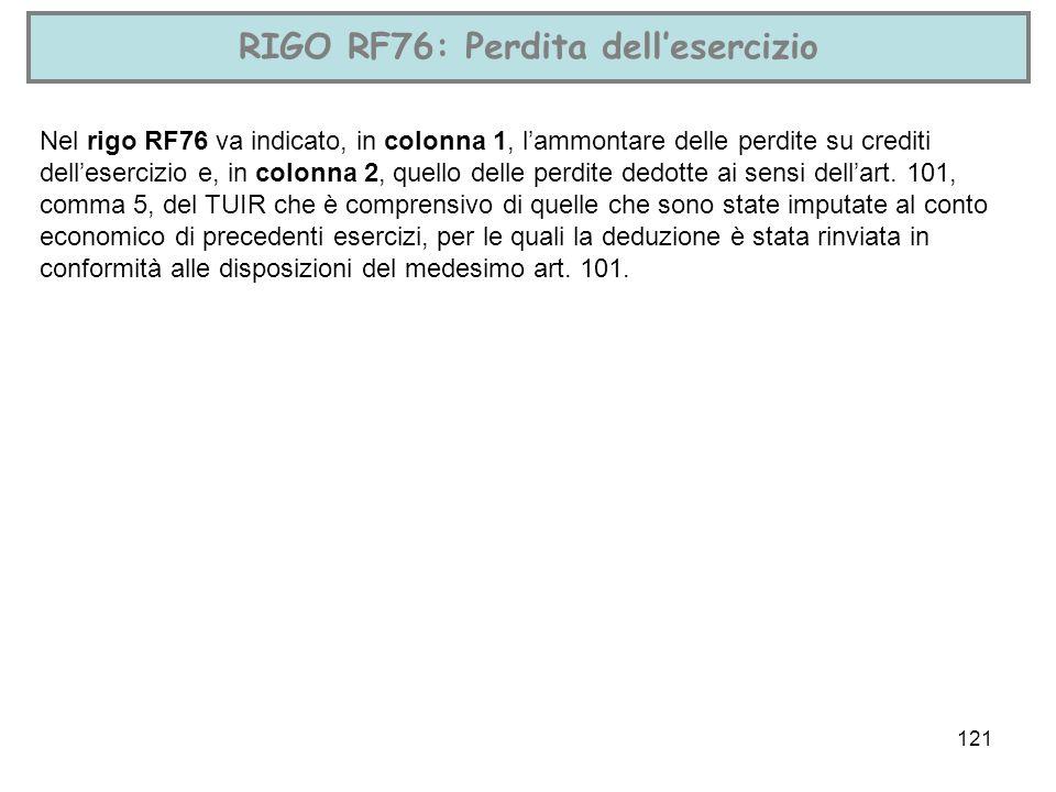 121 RIGO RF76: Perdita dellesercizio Nel rigo RF76 va indicato, in colonna 1, lammontare delle perdite su crediti dellesercizio e, in colonna 2, quell