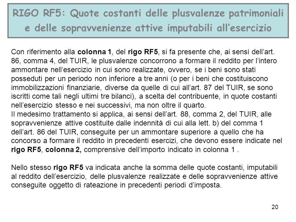 20 RIGO RF5: Quote costanti delle plusvalenze patrimoniali e delle sopravvenienze attive imputabili allesercizio Con riferimento alla colonna 1, del r