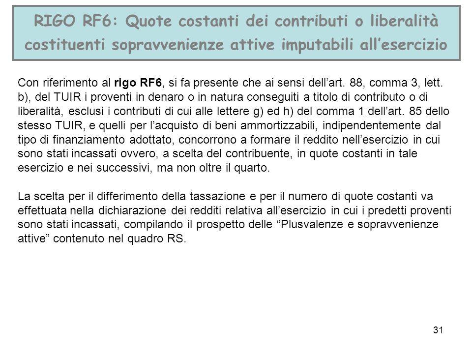 31 RIGO RF6: Quote costanti dei contributi o liberalità costituenti sopravvenienze attive imputabili allesercizio Con riferimento al rigo RF6, si fa p