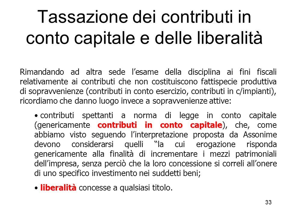 33 Tassazione dei contributi in conto capitale e delle liberalità Rimandando ad altra sede lesame della disciplina ai fini fiscali relativamente ai co