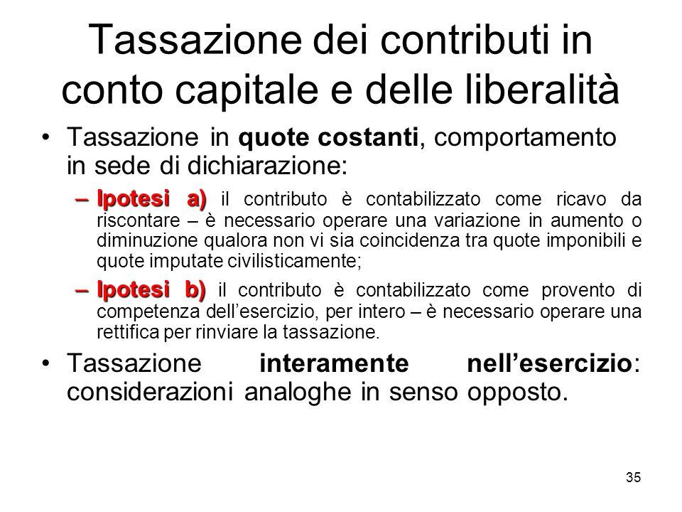 35 Tassazione dei contributi in conto capitale e delle liberalità quote costantiTassazione in quote costanti, comportamento in sede di dichiarazione: