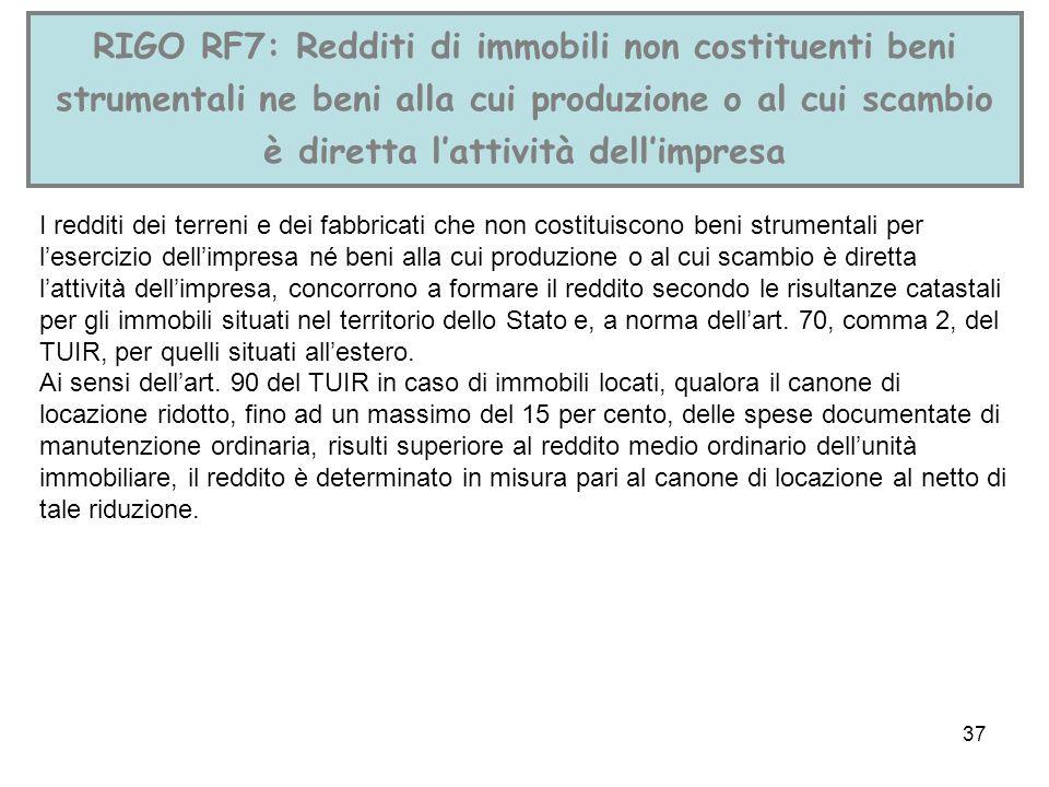 37 RIGO RF7: Redditi di immobili non costituenti beni strumentali ne beni alla cui produzione o al cui scambio è diretta lattività dellimpresa I reddi
