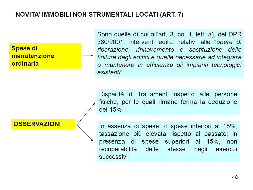 48 NOVITA IMMOBILI NON STRUMENTALI LOCATI (ART. 7) Spese di manutenzione ordinaria Sono quelle di cui allart. 3, co. 1, lett. a), del DPR 380/2001: in