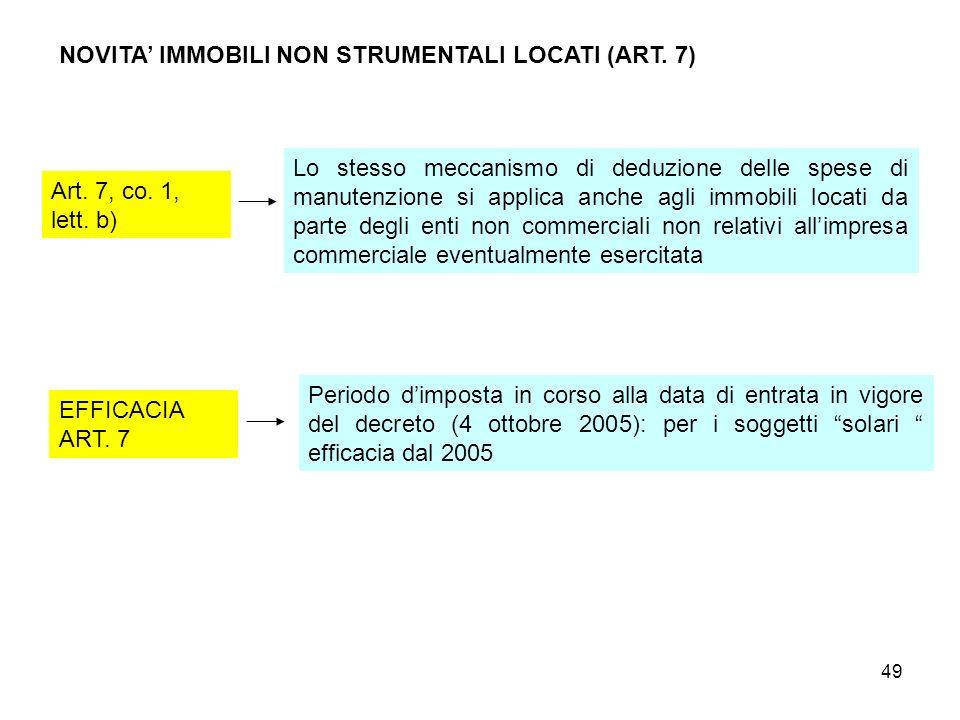 49 NOVITA IMMOBILI NON STRUMENTALI LOCATI (ART. 7) Art. 7, co. 1, lett. b) Lo stesso meccanismo di deduzione delle spese di manutenzione si applica an