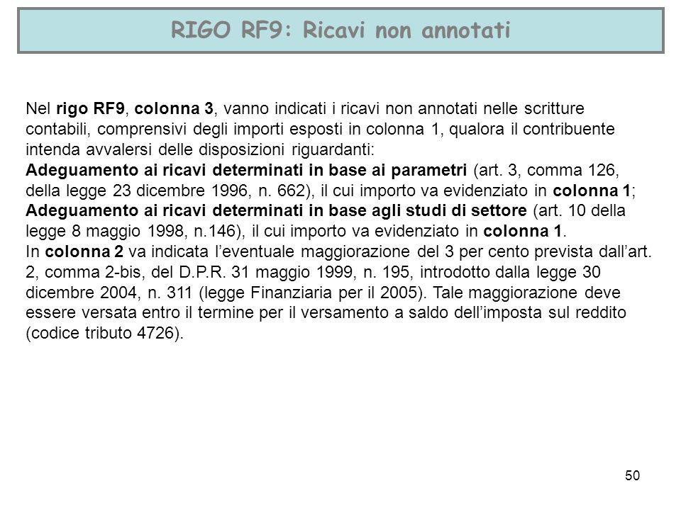 50 RIGO RF9: Ricavi non annotati Nel rigo RF9, colonna 3, vanno indicati i ricavi non annotati nelle scritture contabili, comprensivi degli importi es