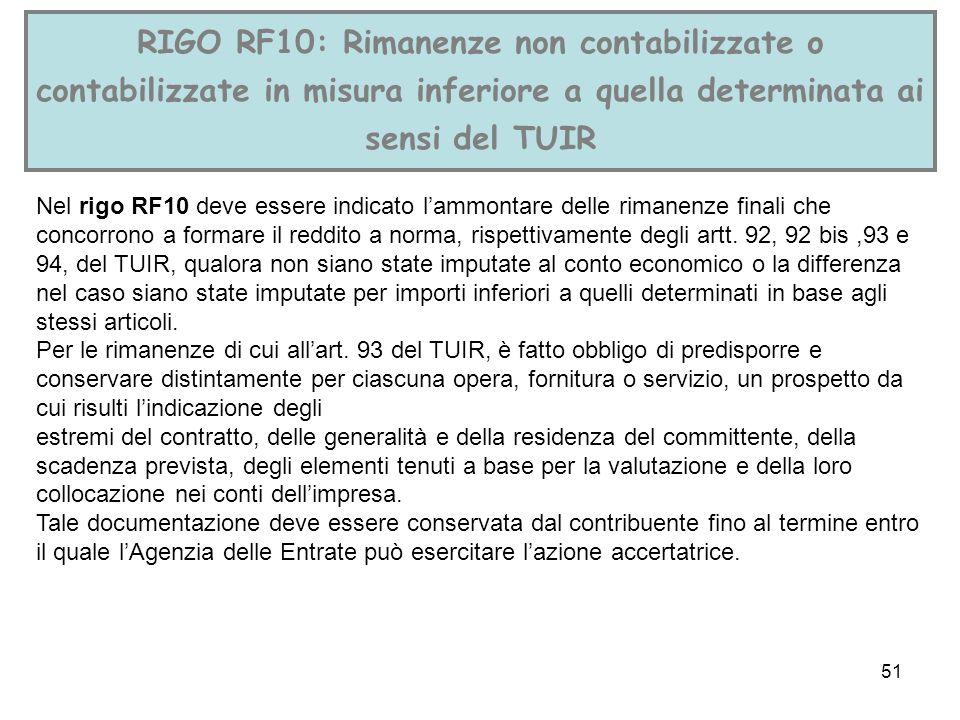 51 RIGO RF10: Rimanenze non contabilizzate o contabilizzate in misura inferiore a quella determinata ai sensi del TUIR Nel rigo RF10 deve essere indic