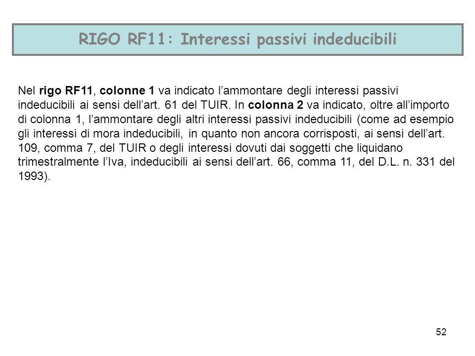 52 RIGO RF11: Interessi passivi indeducibili Nel rigo RF11, colonne 1 va indicato lammontare degli interessi passivi indeducibili ai sensi dellart. 61