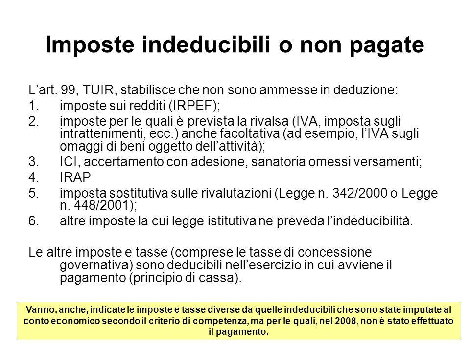 Imposte indeducibili o non pagate Lart. 99, TUIR, stabilisce che non sono ammesse in deduzione: 1.imposte sui redditi (IRPEF); 2.imposte per le quali