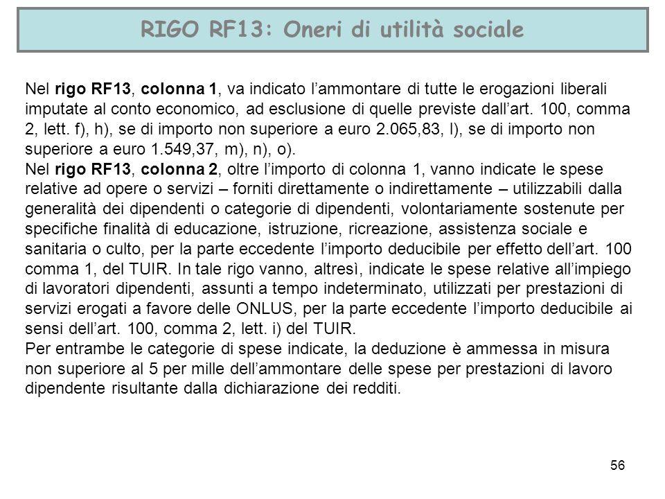 56 RIGO RF13: Oneri di utilità sociale Nel rigo RF13, colonna 1, va indicato lammontare di tutte le erogazioni liberali imputate al conto economico, a