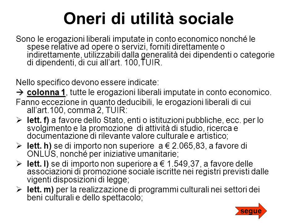 Oneri di utilità sociale Sono le erogazioni liberali imputate in conto economico nonché le spese relative ad opere o servizi, forniti direttamente o i