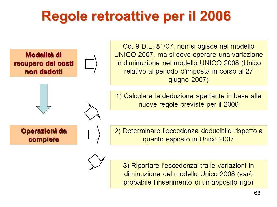 68 Regole retroattive per il 2006 Modalità di recupero dei costi non dedotti Co. 9 D.L. 81/07: non si agisce nel modello UNICO 2007, ma si deve operar