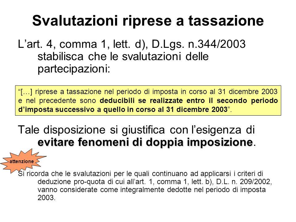 Svalutazioni riprese a tassazione Lart. 4, comma 1, lett. d), D.Lgs. n.344/2003 stabilisca che le svalutazioni delle partecipazioni: evitare fenomeni