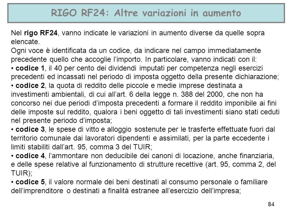84 RIGO RF24: Altre variazioni in aumento Nel rigo RF24, vanno indicate le variazioni in aumento diverse da quelle sopra elencate. Ogni voce è identif