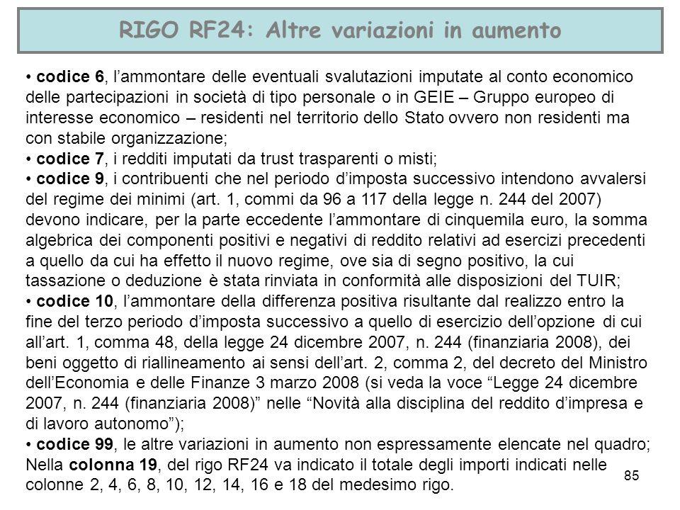 85 RIGO RF24: Altre variazioni in aumento codice 6, lammontare delle eventuali svalutazioni imputate al conto economico delle partecipazioni in societ