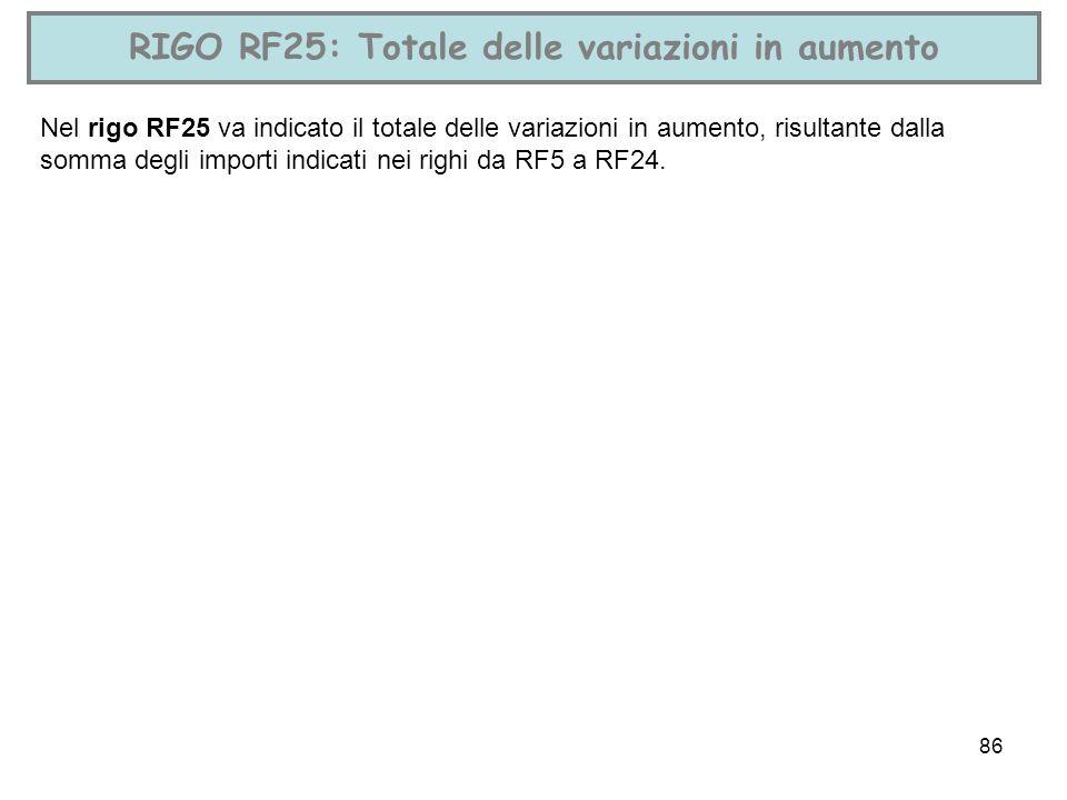 86 RIGO RF25: Totale delle variazioni in aumento Nel rigo RF25 va indicato il totale delle variazioni in aumento, risultante dalla somma degli importi