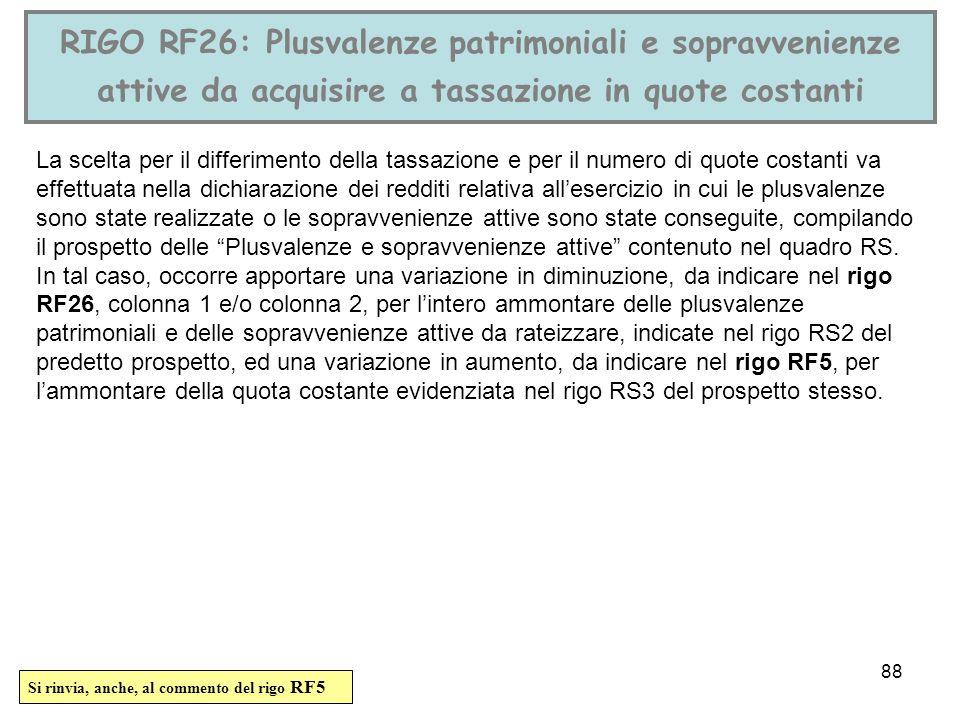 88 RIGO RF26: Plusvalenze patrimoniali e sopravvenienze attive da acquisire a tassazione in quote costanti La scelta per il differimento della tassazi