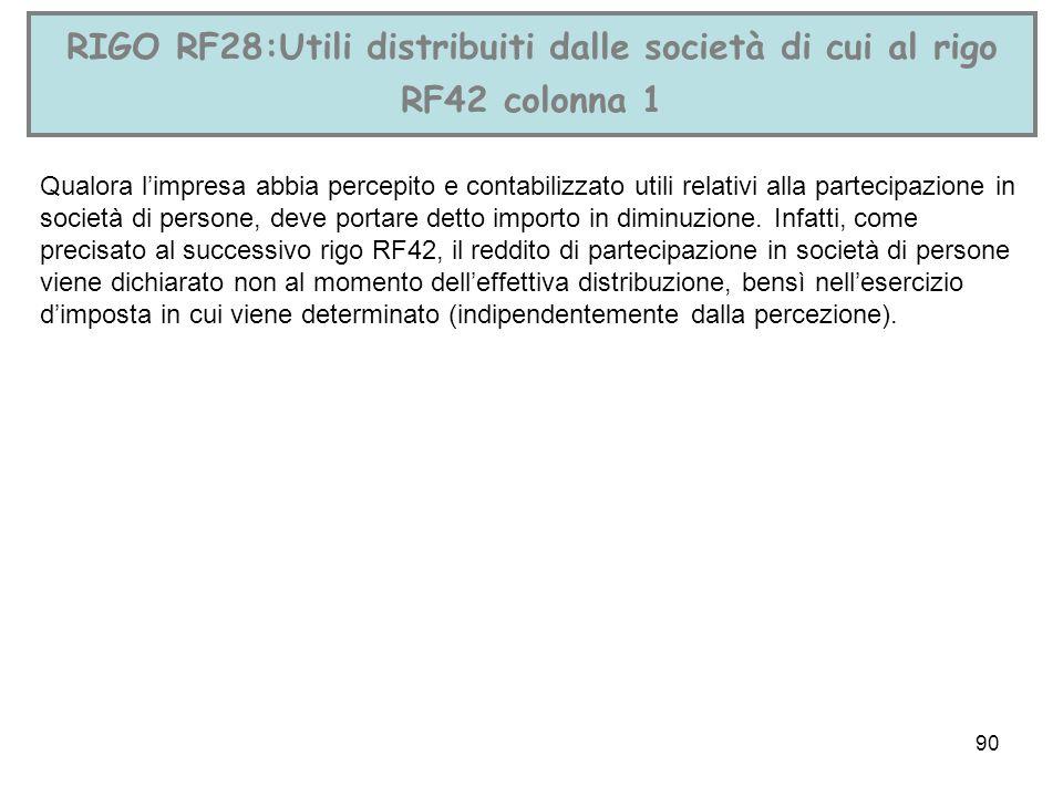 90 RIGO RF28:Utili distribuiti dalle società di cui al rigo RF42 colonna 1 Qualora limpresa abbia percepito e contabilizzato utili relativi alla parte