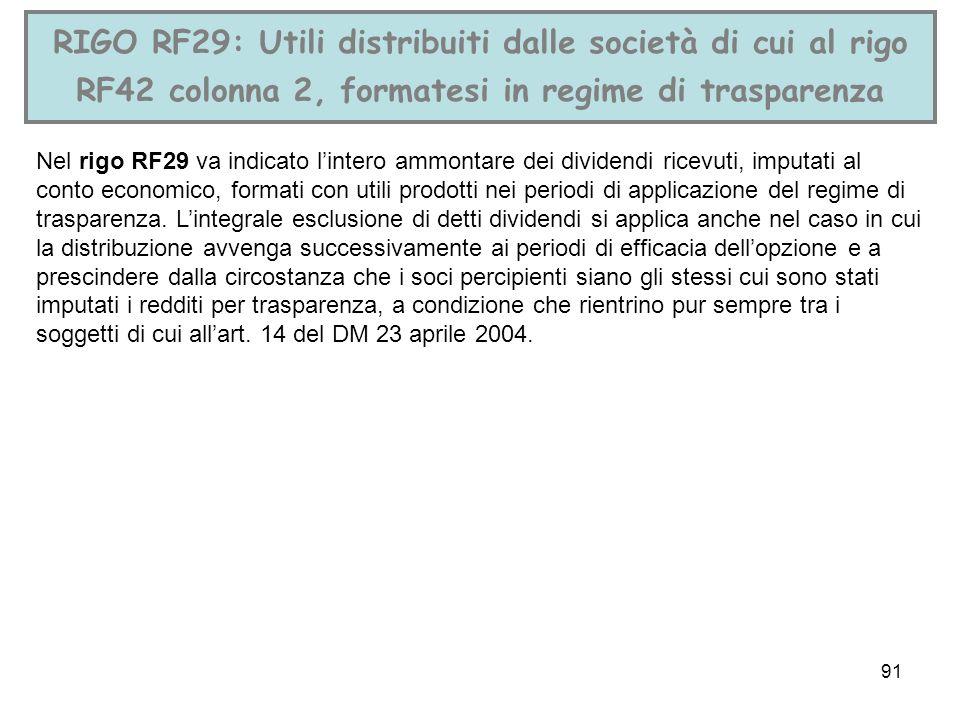 91 RIGO RF29: Utili distribuiti dalle società di cui al rigo RF42 colonna 2, formatesi in regime di trasparenza Nel rigo RF29 va indicato lintero ammo