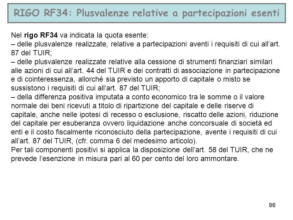96 RIGO RF34: Plusvalenze relative a partecipazioni esenti Nel rigo RF34 va indicata la quota esente: – delle plusvalenze realizzate, relative a parte