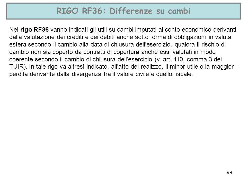 98 RIGO RF36: Differenze su cambi Nel rigo RF36 vanno indicati gli utili su cambi imputati al conto economico derivanti dalla valutazione dei crediti