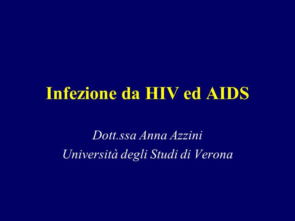 Infezione da HIV ed AIDS Dott.ssa Anna Azzini Università degli Studi di Verona