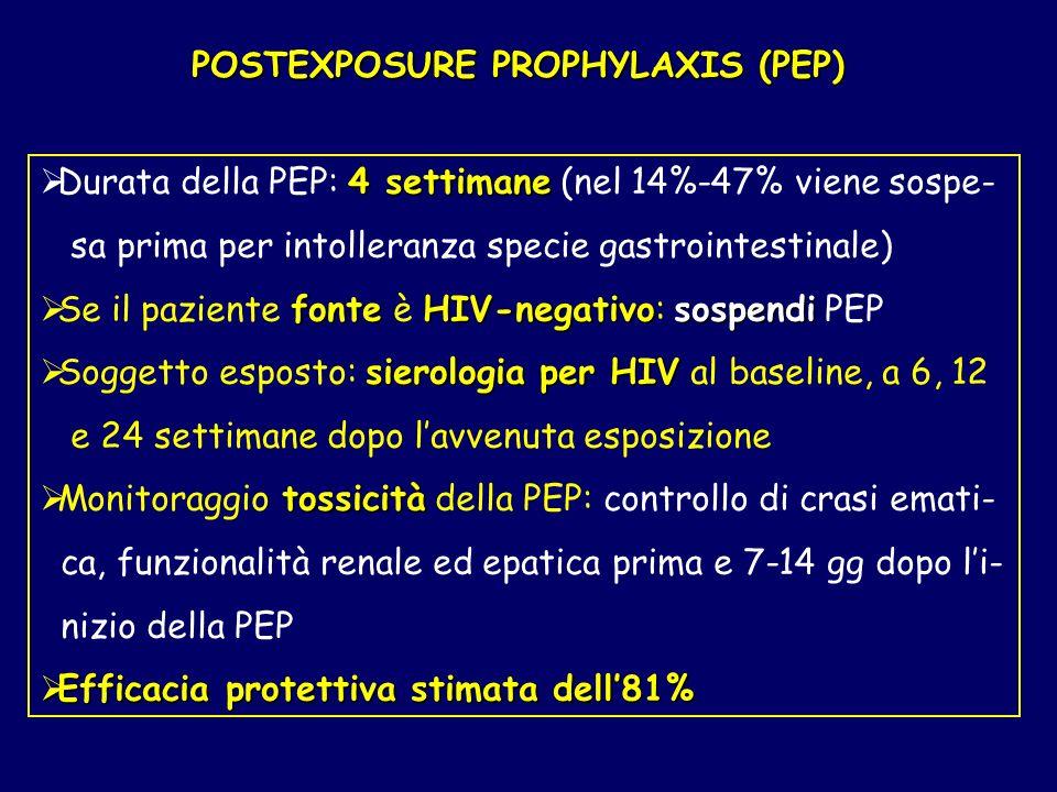 4 settimane Durata della PEP: 4 settimane (nel 14%-47% viene sospe- sa prima per intolleranza specie gastrointestinale) fonteHIV-negativosospendi Se i