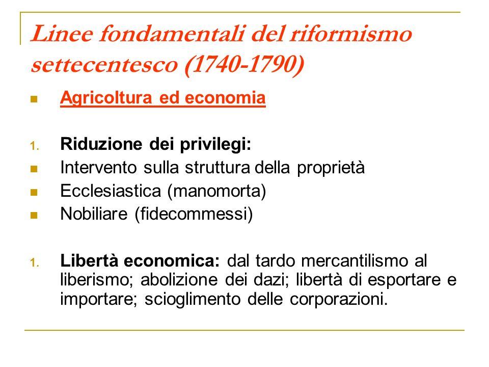 Linee fondamentali del riformismo settecentesco (1740-1790) Agricoltura ed economia 1. Riduzione dei privilegi: Intervento sulla struttura della propr