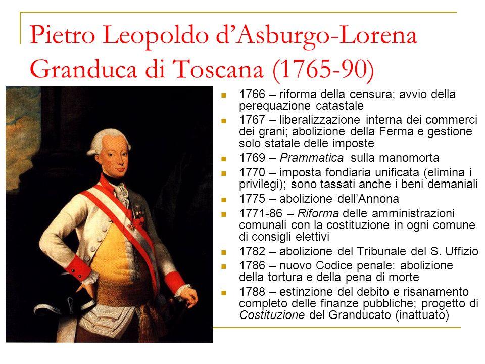 Pietro Leopoldo dAsburgo-Lorena Granduca di Toscana (1765-90) 1766 – riforma della censura; avvio della perequazione catastale 1767 – liberalizzazione