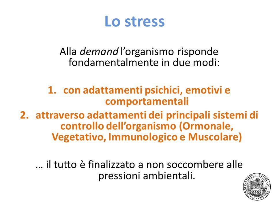 Lo stress Alla demand lorganismo risponde fondamentalmente in due modi: 1.con adattamenti psichici, emotivi e comportamentali 2.attraverso adattamenti