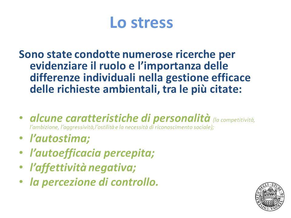 Lo stress Sono state condotte numerose ricerche per evidenziare il ruolo e limportanza delle differenze individuali nella gestione efficace delle rich