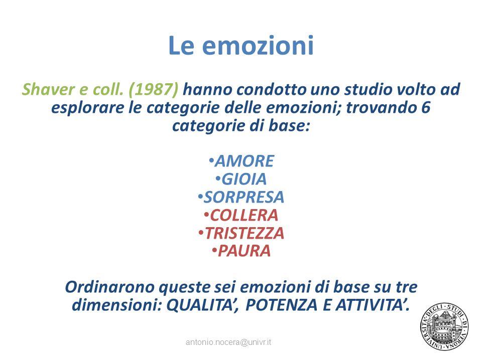 Le emozioni Shaver e coll. (1987) hanno condotto uno studio volto ad esplorare le categorie delle emozioni; trovando 6 categorie di base: AMORE GIOIA