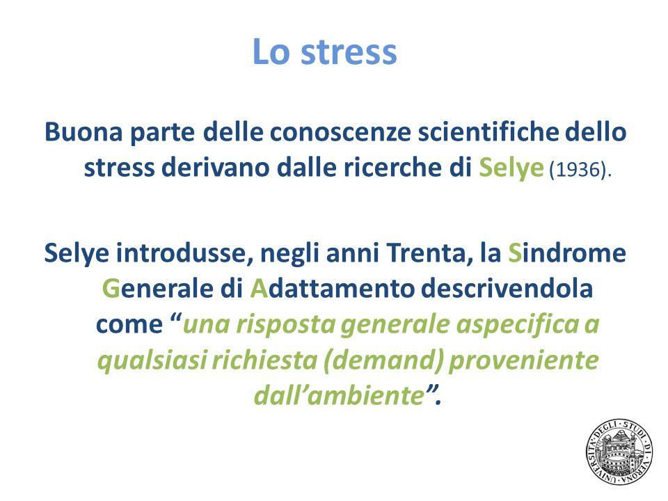 Lo stress Buona parte delle conoscenze scientifiche dello stress derivano dalle ricerche di Selye (1936). Selye introdusse, negli anni Trenta, la Sind
