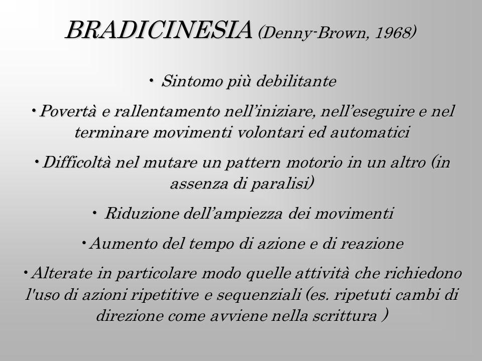 BRADICINESIA (Denny-Brown, 1968) Sintomo più debilitante Sintomo più debilitante Povertà e rallentamento nelliniziare, nelleseguire e nel terminare mo