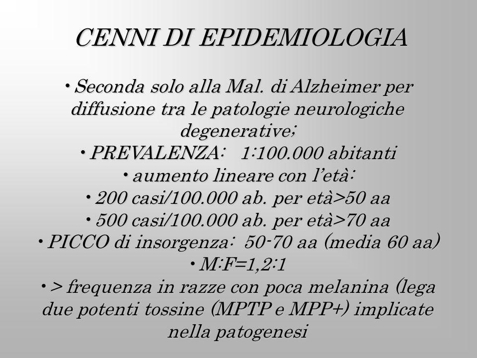 CENNI DI EPIDEMIOLOGIA Seconda solo alla Mal. di Alzheimer per diffusione tra le patologie neurologiche degenerative;Seconda solo alla Mal. di Alzheim