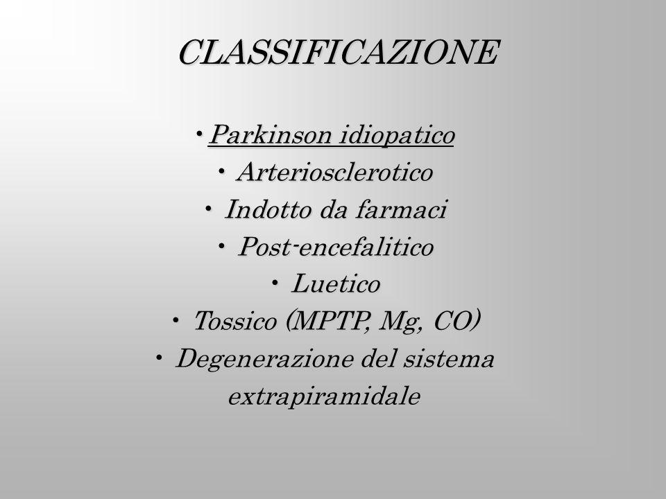 PATOGENESI E FATTORI DI RISCHIO PATOGENESI MULTIFATTORIALE PREDISPOSIZIONE GENETICA ESPOSIZIONE PROTRATTA A SOSTANZA TOSSICHE 1-metil-4-feni-1,2,3,6- tetraidropiridina (MPTP)1-metil-4-feni-1,2,3,6- tetraidropiridina (MPTP) Traumi craniciTraumi cranici Dieta povera di verdureDieta povera di verdure IpertensioneIpertensione Fumo di sigarettaFumo di sigaretta Esercizio fisico moderatoEsercizio fisico moderato