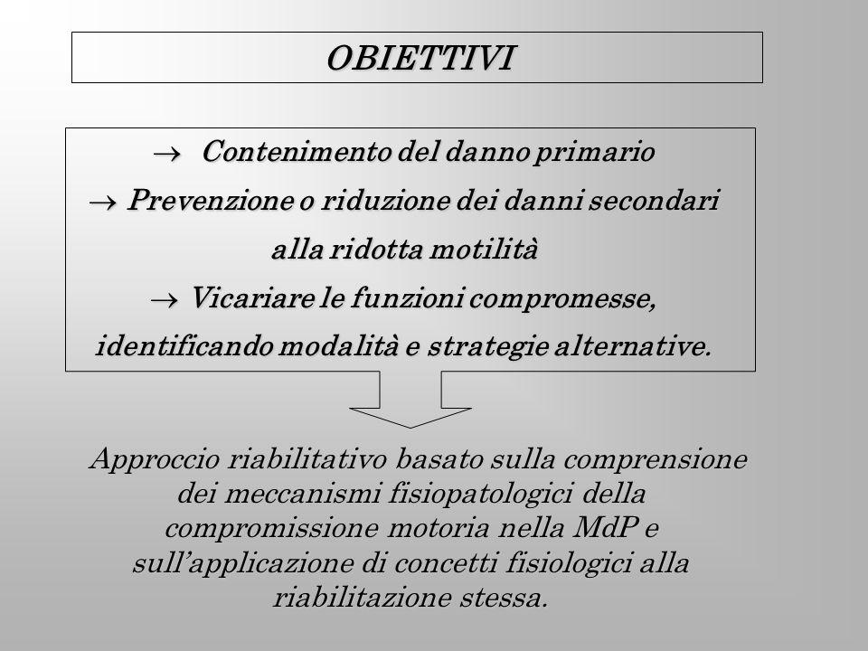 Contenimento del danno primario Contenimento del danno primario Prevenzione o riduzione dei danni secondari alla ridotta motilità Prevenzione o riduzi