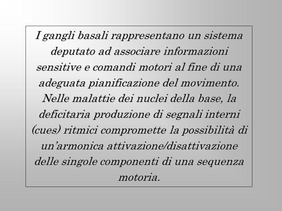 I gangli basali rappresentano un sistema deputato ad associare informazioni sensitive e comandi motori al fine di una adeguata pianificazione del movi