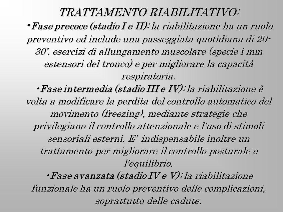 TRATTAMENTO RIABILITATIVO: Fase precoce (stadio I e II): la riabilitazione ha un ruolo preventivo ed include una passeggiata quotidiana di 20- 30, ese