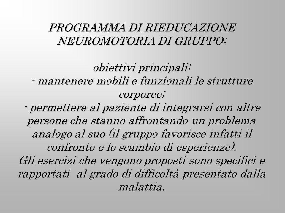 PROGRAMMA DI RIEDUCAZIONE NEUROMOTORIA DI GRUPPO: obiettivi principali: - mantenere mobili e funzionali le strutture corporee; - permettere al pazient