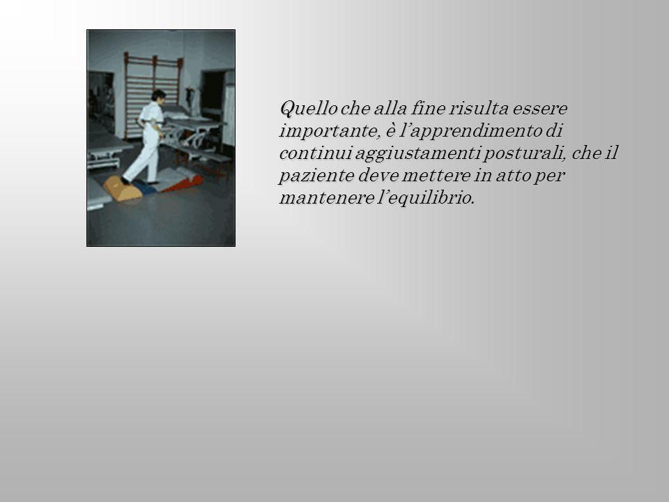Quello che alla fine risulta essere importante, è lapprendimento di continui aggiustamenti posturali, che il paziente deve mettere in atto per mantene