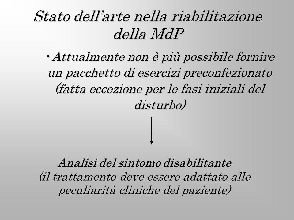 Stato dellarte nella riabilitazione della MdP Attualmente non è più possibile fornire un pacchetto di esercizi preconfezionato (fatta eccezione per le