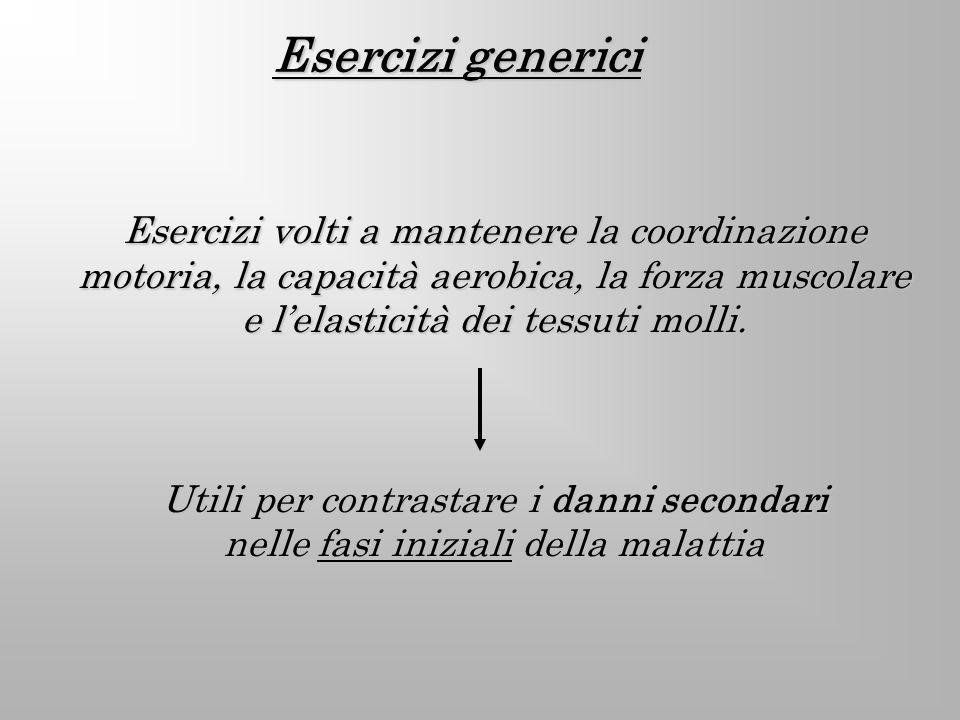 Esercizi generici Esercizi volti a mantenere la coordinazione motoria, la capacità aerobica, la forza muscolare e lelasticità dei tessuti molli. Utili