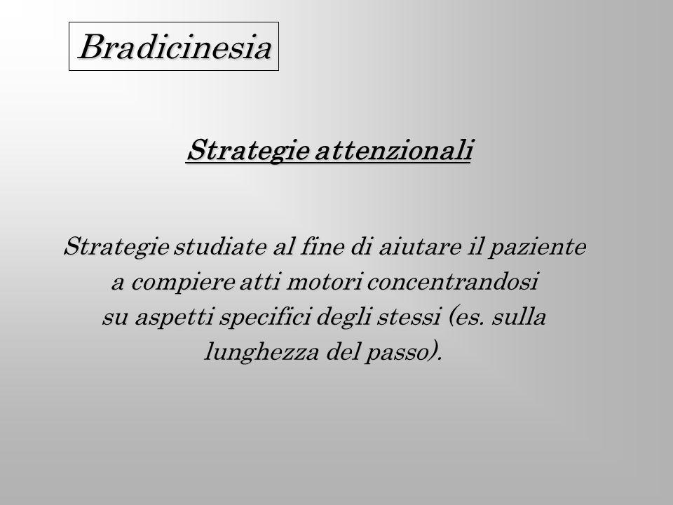 Strategie attenzionali Strategie studiate al fine di aiutare il paziente a compiere atti motori concentrandosi su aspetti specifici degli stessi (es.
